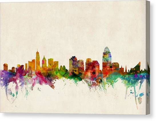 Urban Canvas Print - Cincinnati Ohio Skyline by Michael Tompsett