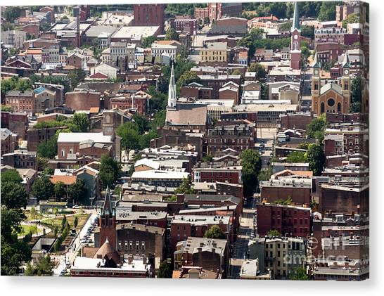 Cincinnati Over The Rhine Neighborhood Aerial Photo Canvas Print by Paul Velgos