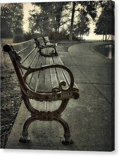 Cincinnati Park Board Bench At Eden Park Canvas Print