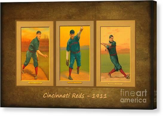 Cincinnati Reds Canvas Print - Cincinnati Reds 1911 by Lianne Schneider