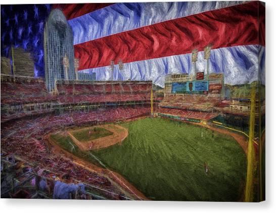 Cincinnati Reds Canvas Print - Cincinnati Reds Great American Ballpark Flag Digitally Painted 2 by David Haskett II
