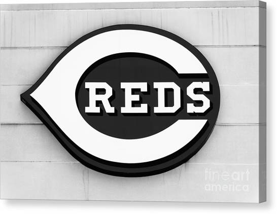 Cincinnati Reds Canvas Print - Cincinnati Reds Sign Black And White Picture by Paul Velgos