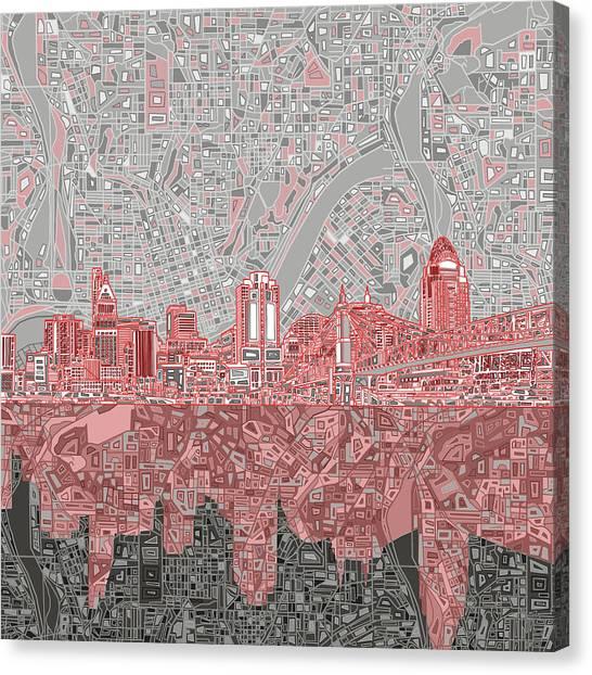 Cincinnati Reds Canvas Print - Cincinnati Skyline Abstract 4 by Bekim Art