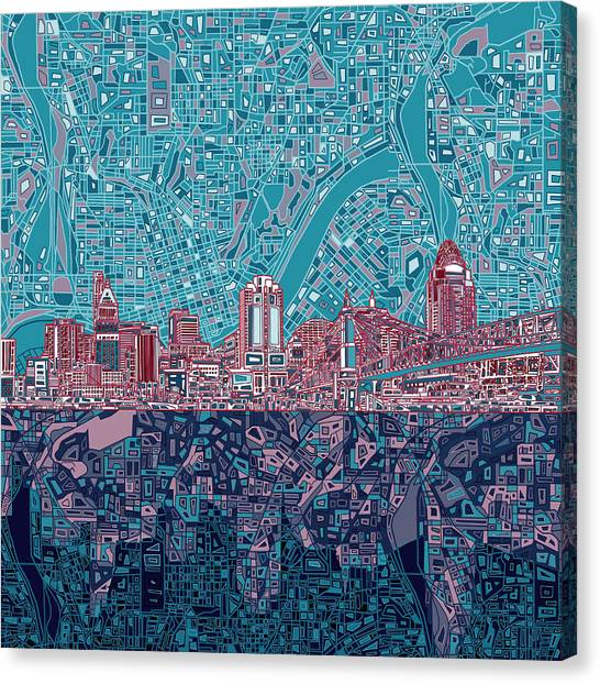 Cincinnati Reds Canvas Print - Cincinnati Skyline Abstract 6 by Bekim Art