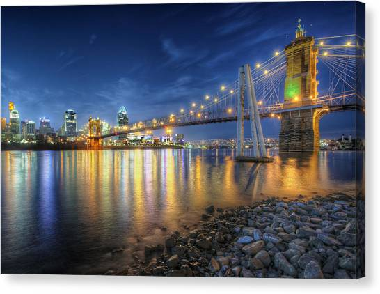 Cincinnati Skyline And Bridge At Night Canvas Print