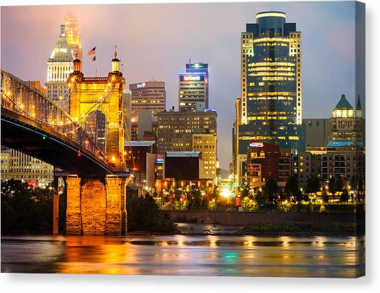 Cincinnati Skyline And The John A. Roebling Suspension Bridge Canvas Print