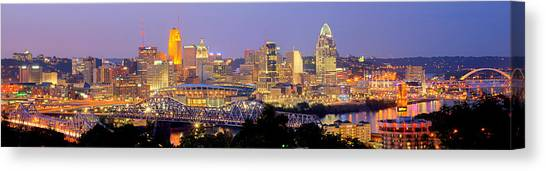 Bengals Canvas Print - Cincinnati Skyline At Dusk Sunset Color Panorama Ohio by Jon Holiday