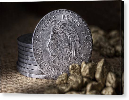 Coins Canvas Print - Cinco Pesos Still Life by Tom Mc Nemar