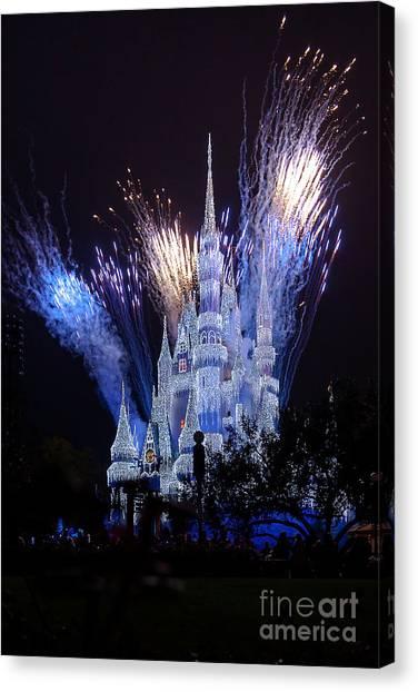 Magic Kingdom Castle Frozen Blue Canvas Print