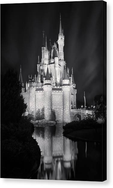 Cinderella's Castle Reflection Black And White Canvas Print