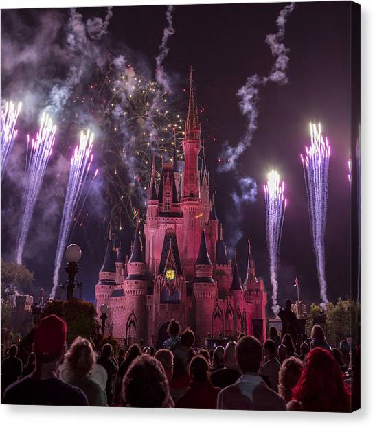 Palace Square Canvas Print - Cinderella's Castle With Fireworks by Adam Romanowicz