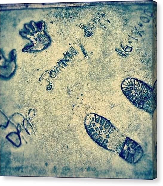 Feet Canvas Print - #cinematreasures #california #cement by Jill Battaglia