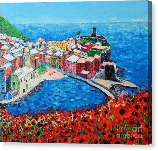 Cinque Terre Vernazza Poppies Canvas Print