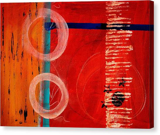 Big Red Canvas Print - Circle Red Abstract by Nancy Merkle