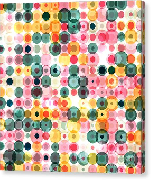 Circles Pattern Retro Background Canvas Print by Reuki