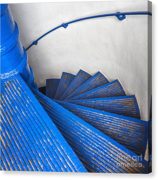 Canvas Print featuring the photograph Circular Staircase At Arecibo Lighthouse In Puerto Rico by Bryan Mullennix
