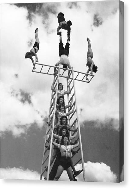 Acrobatic Canvas Print - Circus Performers Practice by Underwood Archives