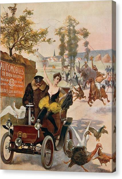 Kidnapped Canvas Print - Circus Star Kidnapped Wilhio S Poster For De Dion Bouton Cars by Anonymous