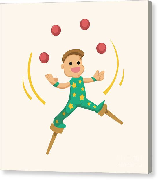 Happy Canvas Print - Circus Theme Juggler Elements by Notkoo