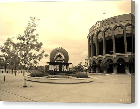 Citi Field In Sepia Canvas Print