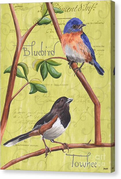 Songbirds Canvas Print - Citron Songbirds 1 by Debbie DeWitt