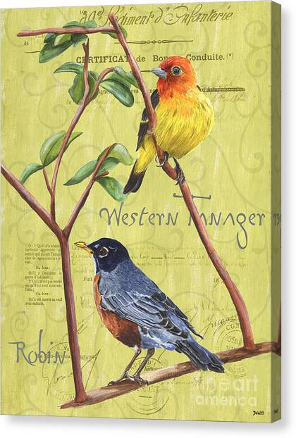 Robin Canvas Print - Citron Songbirds 2 by Debbie DeWitt