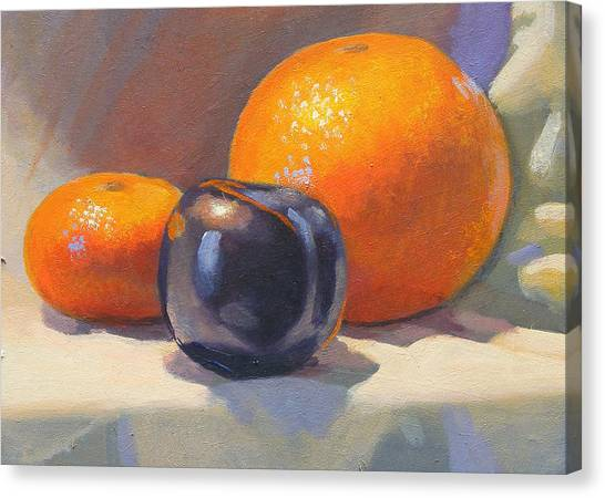 Citrus And Plum Canvas Print by Peter Orrock