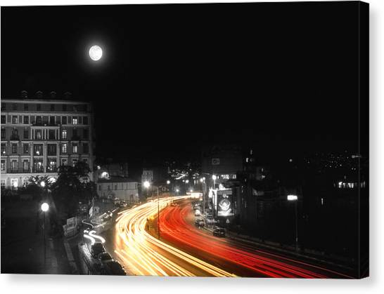 Analog Canvas Print - City And The Moon by Taylan Apukovska
