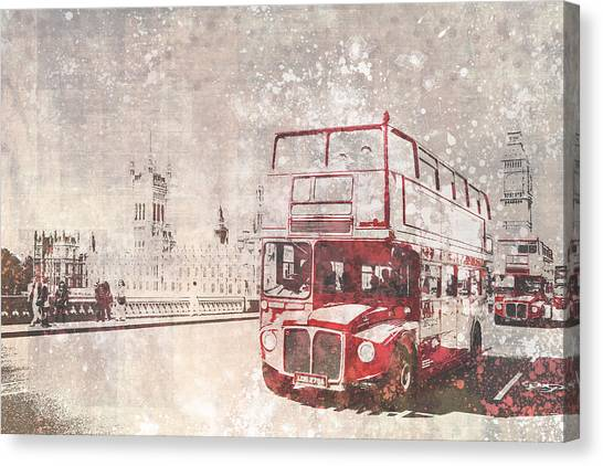 Parliament Canvas Print - City-art London Red Buses II by Melanie Viola