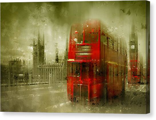 Tower Bridge London Canvas Print - City-art London Red Buses by Melanie Viola