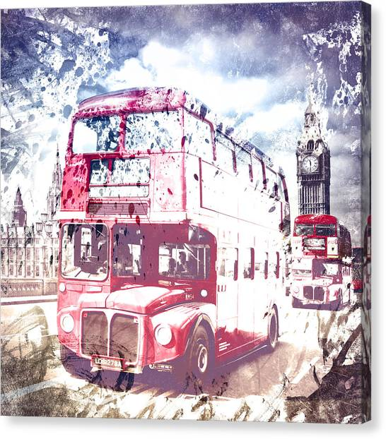 Palace Of Westminster Canvas Print - City-art London Red Buses On Westminster Bridge by Melanie Viola