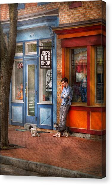 Pavers Canvas Print - City - Baltimore Md - Waiting By Joe's Bike Shop  by Mike Savad