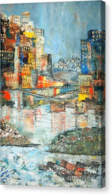 City By The River - Sold Canvas Print by Judith Espinoza