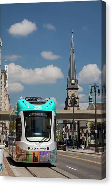Light Rail Canvas Print - City Centre Tram by Jim West/science Photo Library