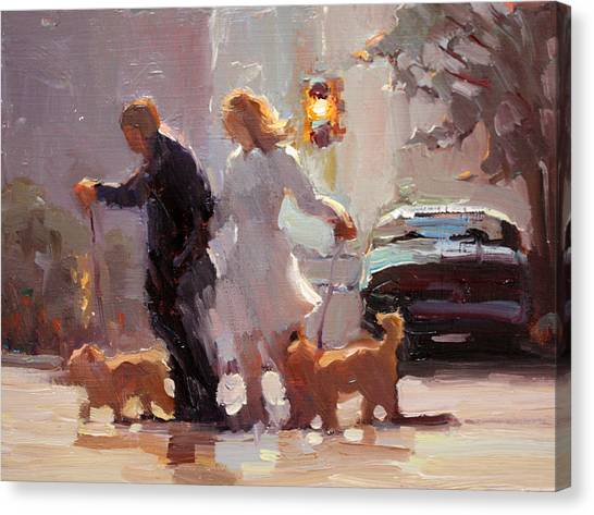 Image result for city scene walking dogs in impressionist painting