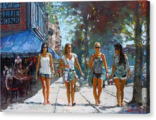 Girl In Landscape Canvas Print - City Girls by Ylli Haruni