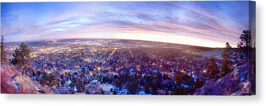 University Of Colorado Canvas Print - City Lights Boulder Colorado Panorama Sunrise by James BO  Insogna