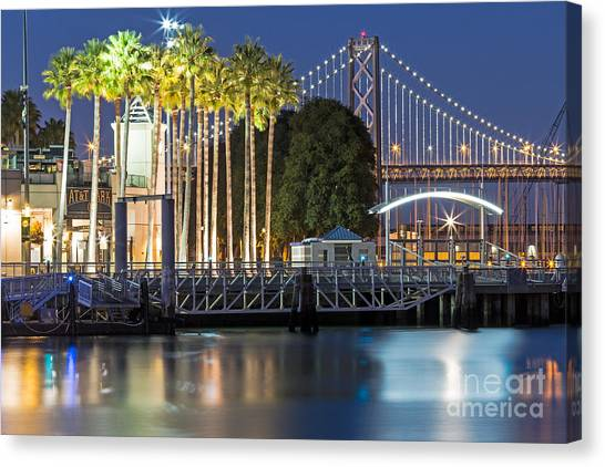 City Lights On Mission Bay Canvas Print