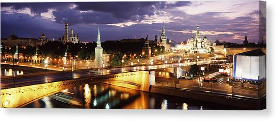 Independent Canvas Print - City Lit Up At Night, Red Square by Panoramic Images