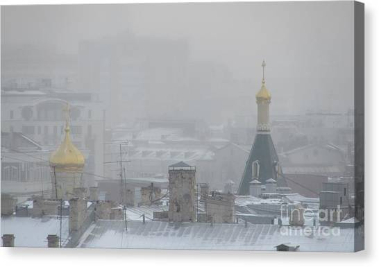 Moscow Skyline Canvas Print - City Mist 1 by Anna Yurasovsky