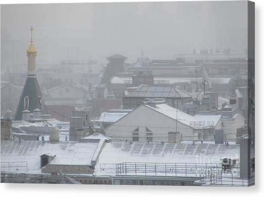 Moscow Skyline Canvas Print - City Mist 3 by Anna Yurasovsky