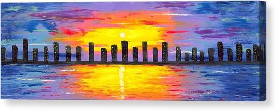 Canvas Print Featuring The Painting City Of Lights By Jessilyn Park
