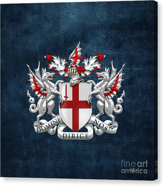 City Of London - Coat Of Arms Over Blue Leather  Canvas Print