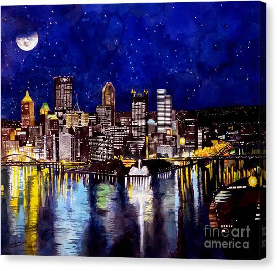 Citizen Canvas Print - City Of Pittsburgh At The Point by Christopher Shellhammer