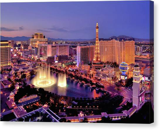 City Skyline At Night With Bellagio Canvas Print by Rebeccaang