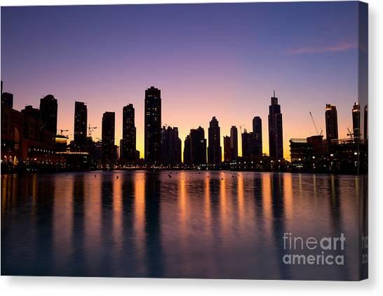 Dubai Skyline Canvas Print - City Skyline Dubai At Dusk by Fototrav Print