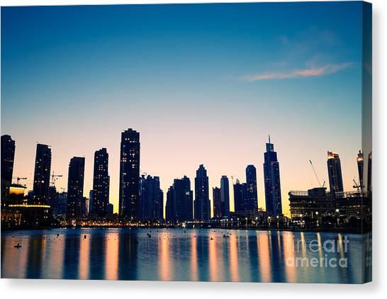 Dubai Skyline Canvas Print - City Skyline From Dubai Mall By Night by Fototrav Print