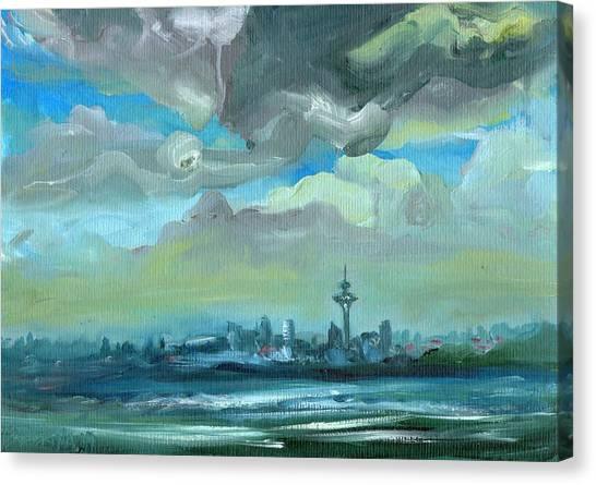 City Skyline Impressionist Painting Canvas Print