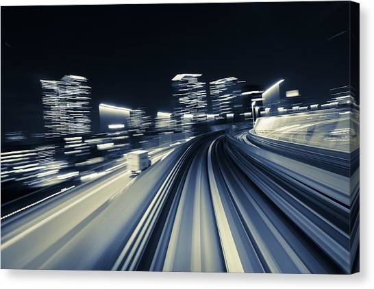 Bullet Trains Canvas Print - City Speed by Rich Legg