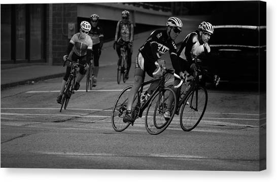 City Street Cycling Canvas Print